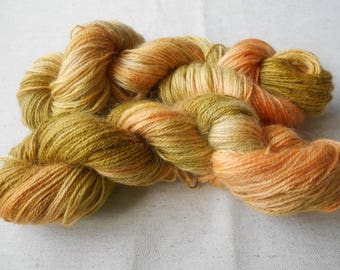 Deep Citrus Orange and Green Oak Lambswool/Mohair 100g. D.K