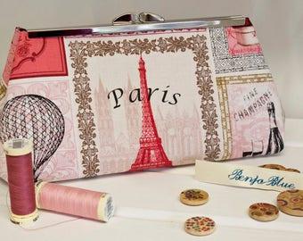 Clutch Bag - Purse - Hand Bag - Evening Bag - Toiletry Bag - Wedding Bag - Handmade bag featuring gorgeous Paris-inspired fabric.