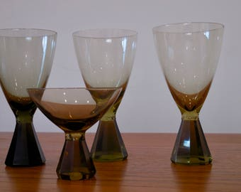 Mid Century Faceted Smoked Glass Tumblers