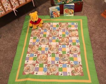 Baby Quilt, Baby Blanket, Crib Quilt, Winnie The Pooh Quilt, Pooh Bear Quilt, Crib Quilt, Baby Shower Gift