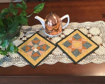 Pot Holders, Quilted St Patty's Day Pot Holders, Quilted Pot Holders, Quilted Hot Pads, Quilted Trivets, Kitchen Decor