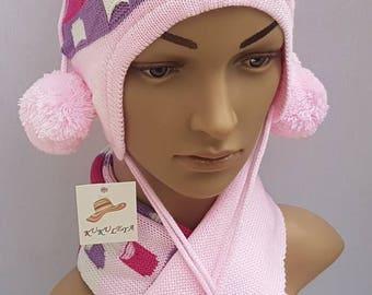Hat scarf set kids gloves