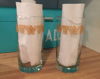 Corelle Corning Butterfly Gold tumbler glasses set of 2