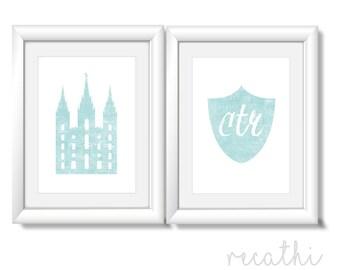 Set of 2 print,  lds Temple, ctr, Instant Download Digital Printable LDS Gift Art print room decor, aqua