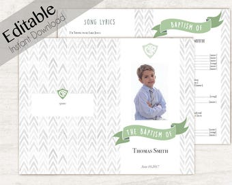 Baptism Program LDS Printable Digital, Editable PDF, Songs Handout Boy Baptism, CTR, Grey Green  Watercolor, Program Photo, Program Template