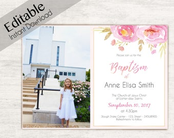 Baptism Invitation Girl, Editable PDF, Girl Invitation pink watercolor, Baptism Invite, Photo, Girl Baptism announcements, Baptism Template
