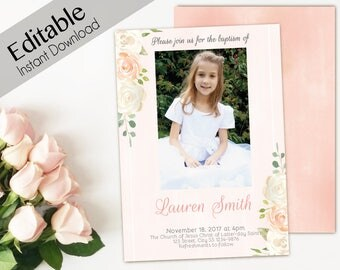 Baptism Invitation Girl, Editable PDF, Girl Invitation peach watercolor, Baptism Invite, invitation double side, back side, Baptism template