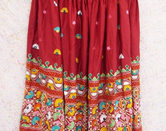 Indian embroidered maxi skirt Vintage burgundy red colorful floral embroidery mirrors skirt boho hippie tribal full length free size
