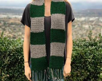 Slytherin Scarf Knitted - Handmade
