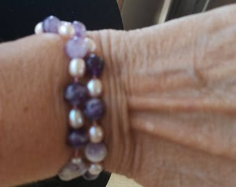 Amethest and Pink Pearl Wrap Around Bracelet
