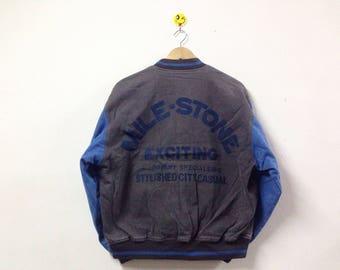 Vintage 90s Mile-Stone Jacket Varsity Spellout Big Logo