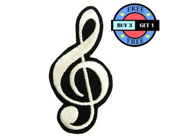 Music Note Embroidered Iron On Patch Heat Seal Applique Sew On Patches