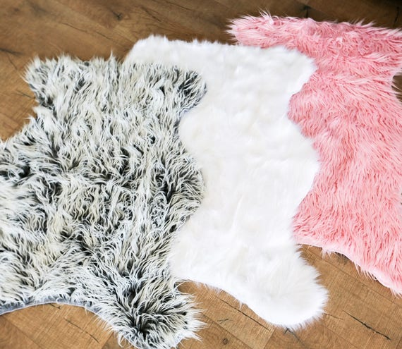 Faux Fur Rug White Fur Rug Grey Fur Rug Sheepskin Rug