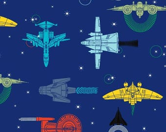 Cotton Stretch JERSEY Fabric - Spaceships in Navy Blue - UK Seller