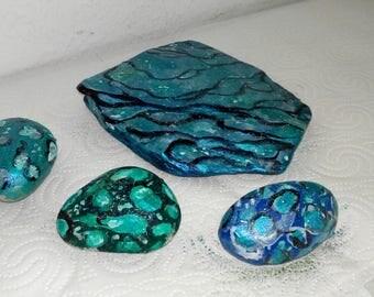 4-tiles unique set blue water