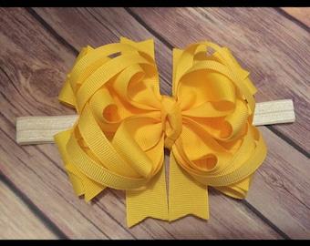 Baby Toddler OTT Bow HeadBand Yellow