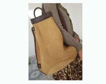 Handmade beige/brown backpack