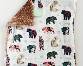 Floral Bear Lovey, Minky Lovey, Faux Fur Lovey, Floral Lovey, Girl Lovey, Bear Lovey, Fairytale Lovey, Watercolor Lovey, Blush Lovey