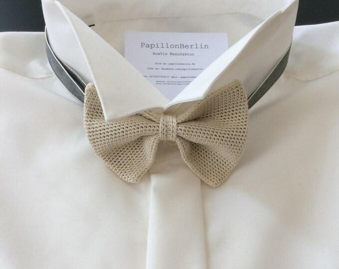 Knit tie, 100% silk, ivory / cream