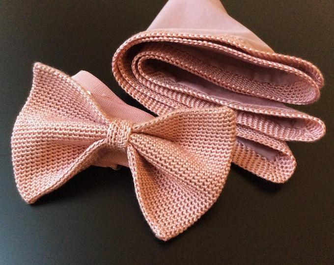 Set: knit bow tie, handkerchief and cufflinks antique pink