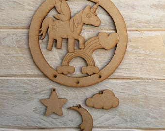 MDF Unicorn A Dream Catcher ready to decorate, choose your hanging shapes