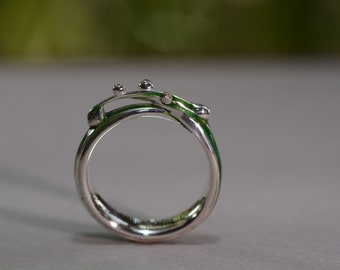 Dewdrops on a Blade of Grass Ring, Grass Ring, Dewdrops Ring, Silver Ring, Cold Enamel Ring
