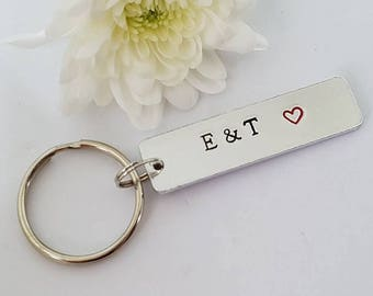 Couple Keyring, Hand Stamped Keyring Keychain, Boyfriend Gift, Girlfriend Gift, Valentine's Gift, Initial Keyring, Wedding, Anniversary Gift