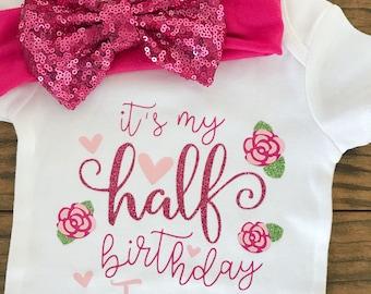Floral Half Birthday Bodysuit