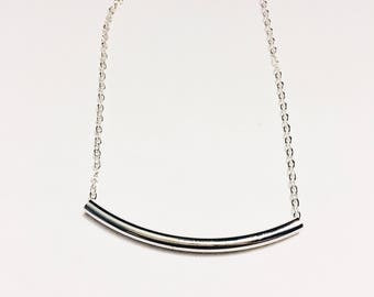 The Julia Silver Tube Necklace