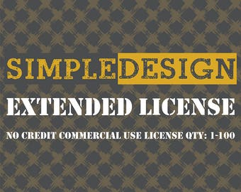 No credit commercial use license production QTY: 1 -100 for ONE item listing