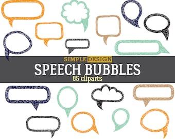 Speech bubbles, Hand drawn clipart, Speech bubble, Hand drawn bubble, Bubble clipart, Bu jo clipart, Thought bubbles, Talk bubble