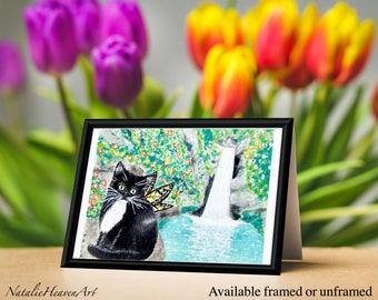 Tuxedo Cat Print, Fairy Cat Art, Black and White Cat Painting, 6x4 Inch Print, Fairy Cat Print, Fantasy Cat Art, Cat Lover Gift, Waterfall