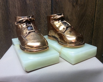 Vintage Bronze and Marble Baby Shoe Bookends