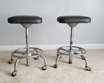 Vintage Industrial Stool - Metal Bar Stool Neoprene Fabric & Industrial stool   Etsy islam-shia.org