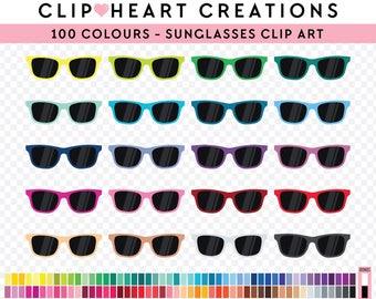 100 Sunglasses Clipart, Commercial use, PNG,  Digital clip art, Digital images, Rainbow digital scrapbooking clip art, sunglasses, shades