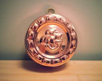 Vintage Swedish Ship Design Copper Mould - with little brass hook for hanging, marked 'SWEDEN'