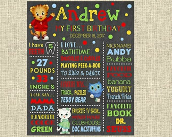 Daniel Tiger Birthday Chalkboard Poster - Wall Art design - First Birthday Poster Sign - Any Age