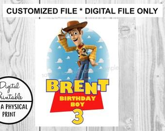 Toy Story Birthday Printable Iron On Transfer - DIY shirt tshirt - Woody printable - personalized Customized Birthday Boy Girl