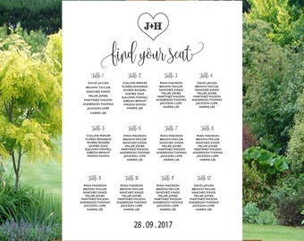 Wedding Seating Chart,Poster wedding, Seating Chart, Wedding Card, Wedding Table seating assignment | WDY18