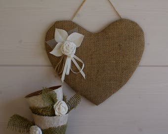 Burlap heart and pink shabby - heart hanging - heart panel display - shabby heart.