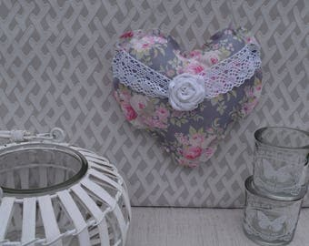 Heart fabric - cushion fabric door liberty and pink shabby heart - heart and bow lace - cushion to hang - hanging heart