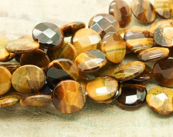 Set of 5 Tiger eye faceted beads