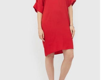Red dress shirt/Plus size summer dress/Oversized Women's dress tunic/Red dress with sleeves/Casual summer dress/Free cut dress/Midi dress