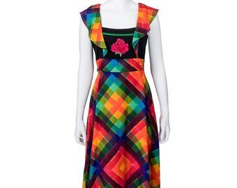 Very Special Rainbow Plaid Print Maxi Dress w Flower Detail