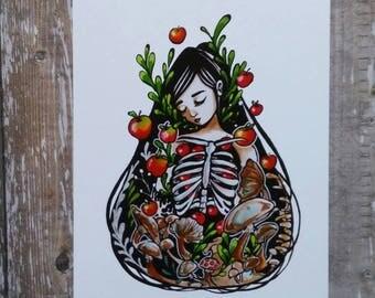 Poison Apple - 5x7 Inch Halloween themed Art Print from Drawlloween /Inktober 2017