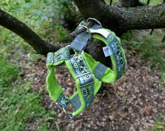 Green gray Step In unique, handmade dog harness
