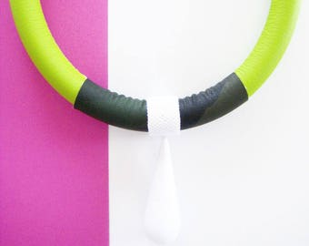Green lime and camouflage pop necklace with white maxi drop bead