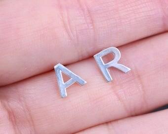Pair of Initial Earrings, Sterling Silver Earrings, Made to Order, Simple Earrings, Everyday Earrings, Stud Earrings, alphabet Earrings,gift