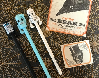 Halloween Sale! Zombie Robot Gel Pens - Perfect for Halloween!! Halloween Pens, Gel Pen, Pen, Black Ink