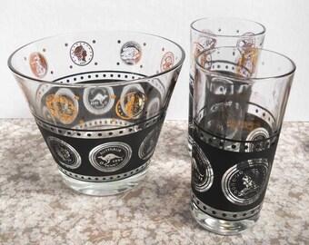 Glass Ice Dish Drinks Glasses Bar Ware Vintage
